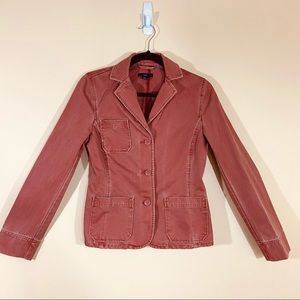 GAP Fade Rust Red Denim Button Down Blazer Jacket